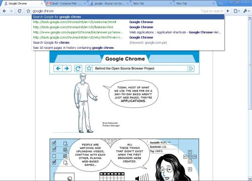 Screenshot de Google Chrome, el explorador de google.